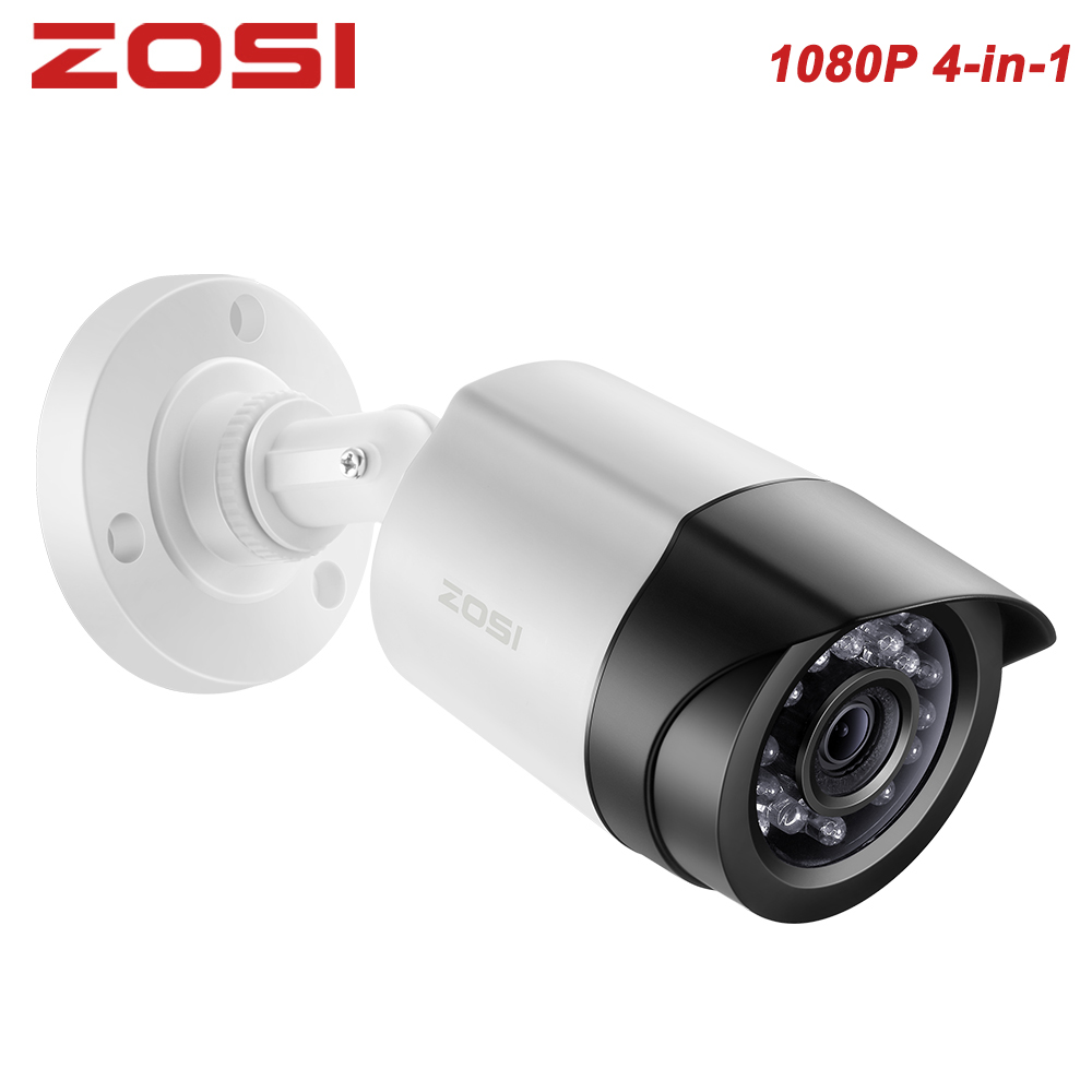 "ZOSI 4-in-1 CVBS AHD TVI CVI 1/2.7"" CMOS 1080P CCTV Home Surveillance Weatherproof 3.6mm lens with IR Cut Bullet Security Camera"
