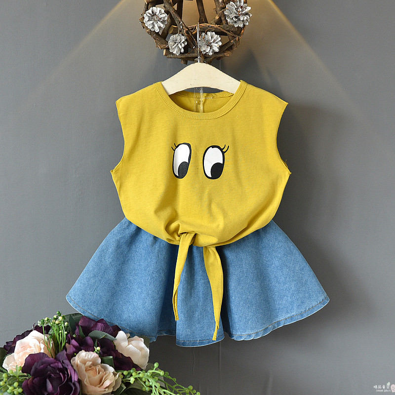 Girls Clothing Sets Summer Baby Girls Clothes New Dot T-Shirt Top Skirts 2Pcs Suit Casual Children Clothes Girls Outfit 2020