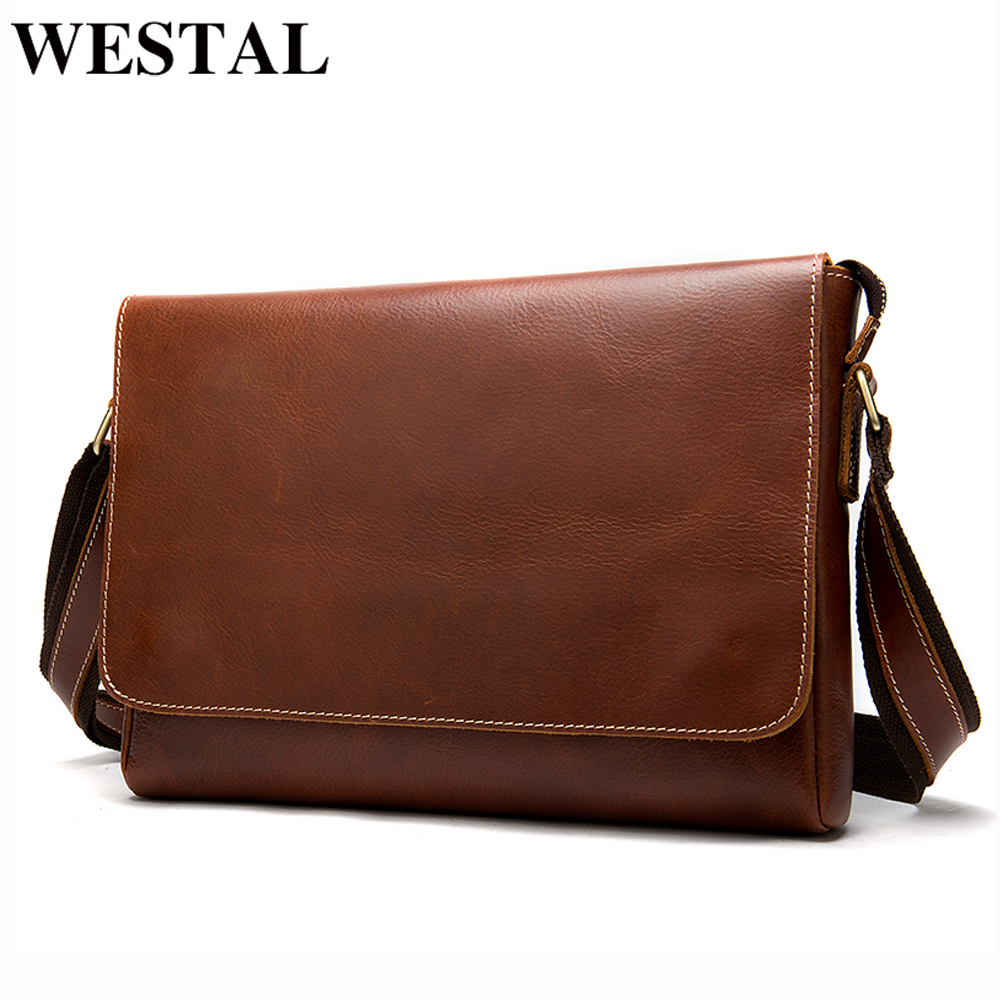 WESTAL Men's Briefcases Genuine Leather Laptop Bag Computer Bags Leather Briefcase Lawyer/office Bags For Men Carteras Hombre