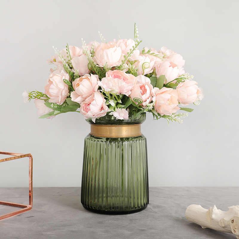 7 teste Peonia Fiori Artificiali Fiori di Seta Fiore di Cerimonia Nuziale Della Decorazione Della Casa Fiori Finti Autunno Decorazioni faux fiori