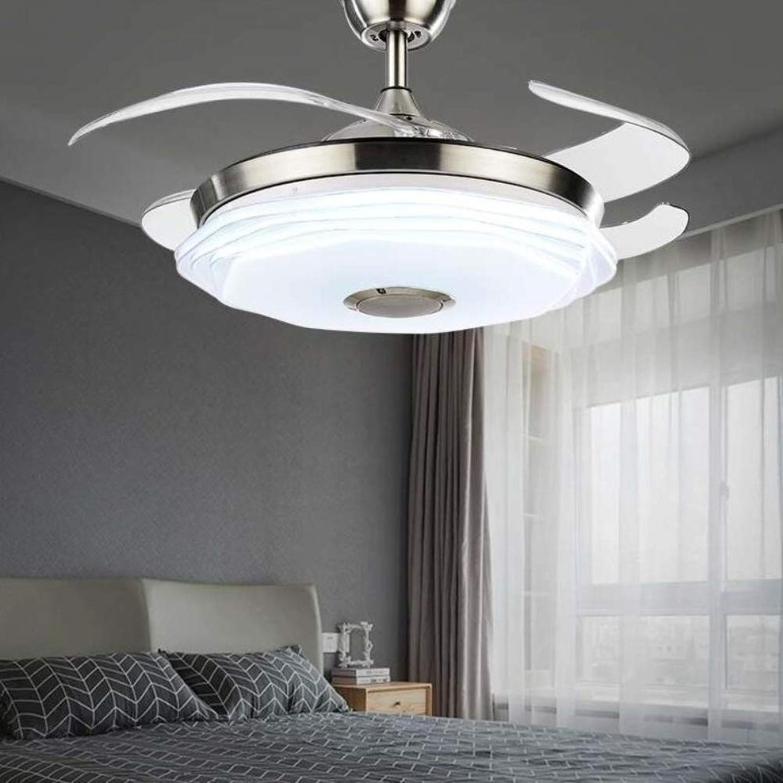 42 современный потолочный вентилятор светильник с Bluetooth музыкальным плеером люстра выдвижные лопасти дистанционного управления 3 скорости ... - 6