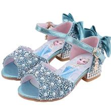 Disney Girls Elsa Sandals Summer Children Fish Mouth Shoes Little Girls Crystal Sandal Frozen elsa Princess Shoes Size 25-35