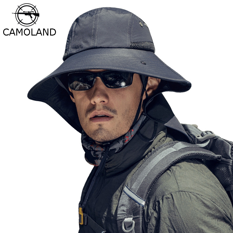 CAMOLAND UPF50+ Sun Hats For Women Men Waterproof Bucket Hat With Neck Flap Outdoor UV Protection Long Wide Brim Hiking Caps