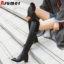 ASUMER 2020 new arrival over the knee boots women solid colors pointed toe winter boots square heels warm party shoes ladies(China)