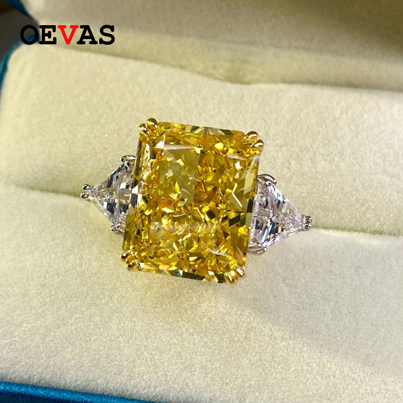 OEVAS 100% 925 Sterling Silver Luxury 13*16mm Topaz High Carbon Diamond Bridal Rings Sparkling Wedding Party Fine Jewelry Gifts 1