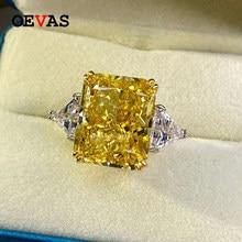 OEVAS 100% 925 En Argent Sterling De Luxe 13*16mm Topaze à Haute Teneur en Carbone Diamant Anneaux De Mariée Mousseux Fête De Mariage Bijoux Cadeaux