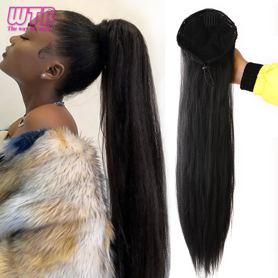 WTB Long YAKI Straight Ponytail High Temperature Synthetic Black Drawstring Elastic Band with Two Plastic Combs Hair Extensions