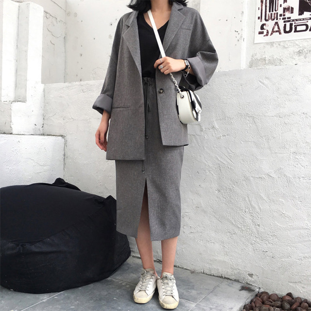 Set female 2019 spring and autumn new loose casual suit trousers two sets of temperament fashion solid color women's clothes