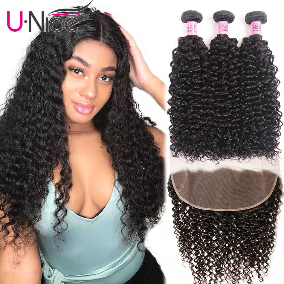"UNice Hair Deep Wave 3/4 Bundles With Frontal 12-26"" Remy Human Hair Weave Bundles With Frontal Brazilian 3 Bundles With Frontal"