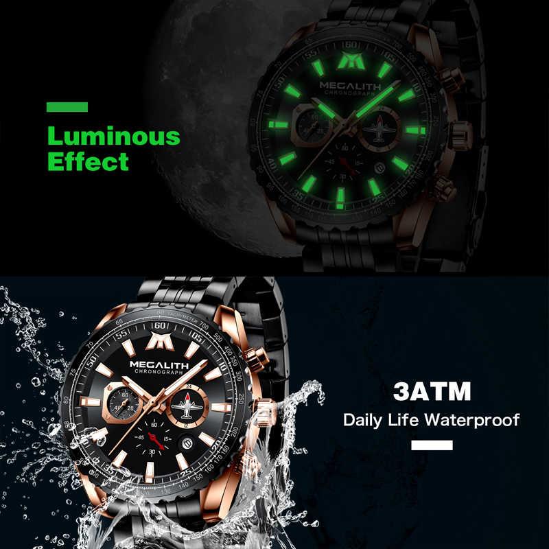 Megalith relógio do esporte dos homens aeronaves ponteiro calendário masculino relógio de aço completo à prova dwaterproof água série piloto relógio quartzo relogio masculino