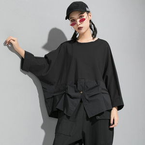 Image 3 - [EAM] Loose Fit Contrast Color Oversized Sweatshirt New Round Neck Long Sleeve Women Big Size Fashion Spring Autumn 2020 1D716