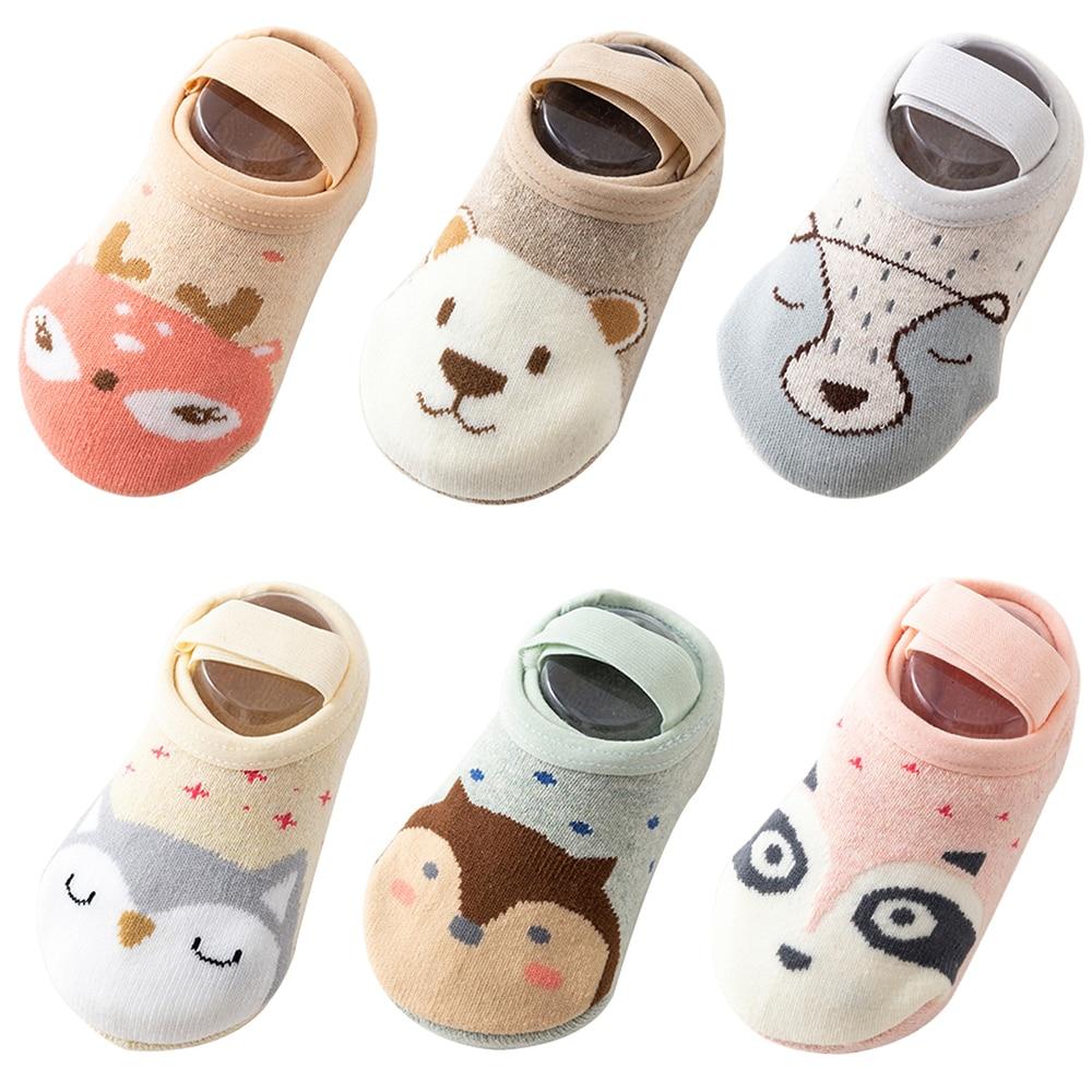 6 Pairs Cute Baby Socks Boat Socks Girls Boys Cute Cartoon Infant Anti-slip Cotton Toddler Floor Socks For Newborns Dropship