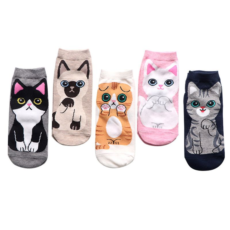 5 Pairs Women Cotton Boat Socks Kawaii Cute Cat Printed Harajuku Short Hosiery 649C