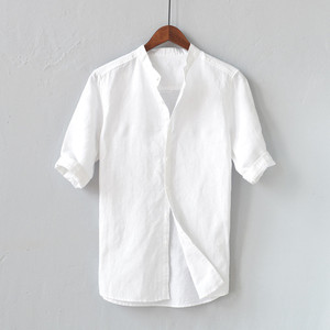 Men Shirts Mens White Shirt Linen Summer Men's Breathable Solid Color Button Cotton Shirt Five-point Sleeve Sleeve Camisa #40(China)