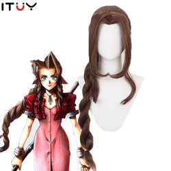 Aerith Gainsborough Wig Final Fantasy VII Cosplay Aerith Heat Resistant Synthetic Brown Long Curly Ponytail Hair Wig