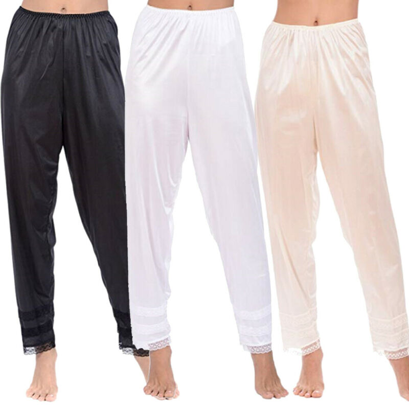 Womens Pajama Pants Wide Leg Casual Lounge Bottoms Satin Lace Patchwork Sleepwear Trousers