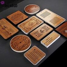 Chinês simples seco bambu bandeja de chá melamina pequena mesa de chá kung fu viagem conjunto chá doméstico drenagem armazenamento de água bandeja de chá