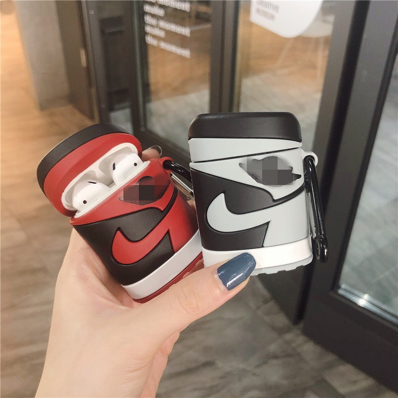 Creative 3D AJ1 Basketball Shoes Silicone Cover Keychain For Apple Airpods 1 2 Wireless Bluetooth Earphone Case Accessories