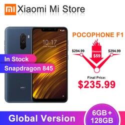 В наличии глобальная версия Xiaomi POCOPHONE F1 6 ГБ 128 Гб Смартфон Snapdragon 845 6,18 FHD экран 20 МП фронтальная камера мобильный телефон