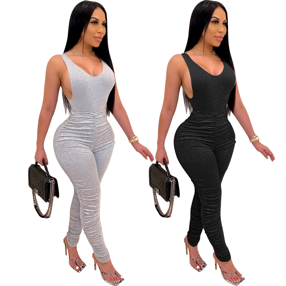 Adogirl Fashion Women Solid Pleated Jumpsuit Romper Sleeveless Open Back V Neck Sport Bodysuit Female One Piece Ruched Playsuit