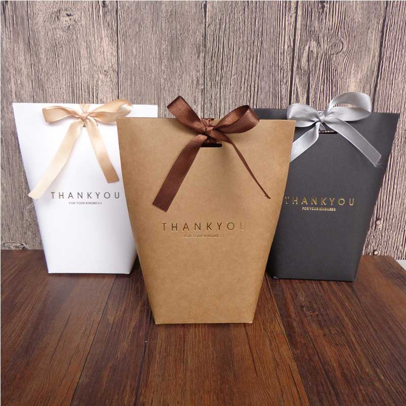 10pcs Black White Merci Thank You Gift Packaging Candy Kraft Paper Bag Cookie Gift Bags Wedding Dragee Gift Box Wrapping Supplie