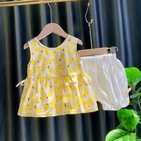 Fashion Girls Outfits Clothes Summer Fruit Loose Casual T shirt Sleeveless Vest Tops+Short Pant 2PCS Girls Clothing Sets