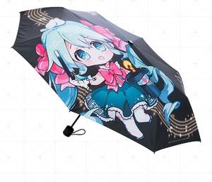 Umbrella Prop!! Anime Vocaloid Hatsune Miku Cosplay Costumes General Utility Sunshade Umbrella Fold Rain And Shine Dual Purpose(China)