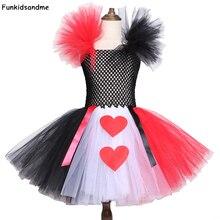 Vestido con tutú de Reina del corazón para niña, rojo, negro y blanco, disfraces de Alicia para niña, vestido de cumpleaños de Halloween de 2 a 12 años