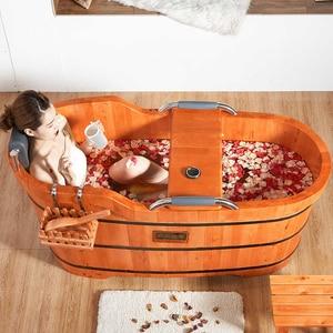 Image 3 - Di alta Qualità di Cedro Barile Vasca da bagno di Sicurezza di Supporto del Sedile Vasca Da Bagno Per Adulti Doccia Cuscino In Legno Massiccio Vasca da bagno