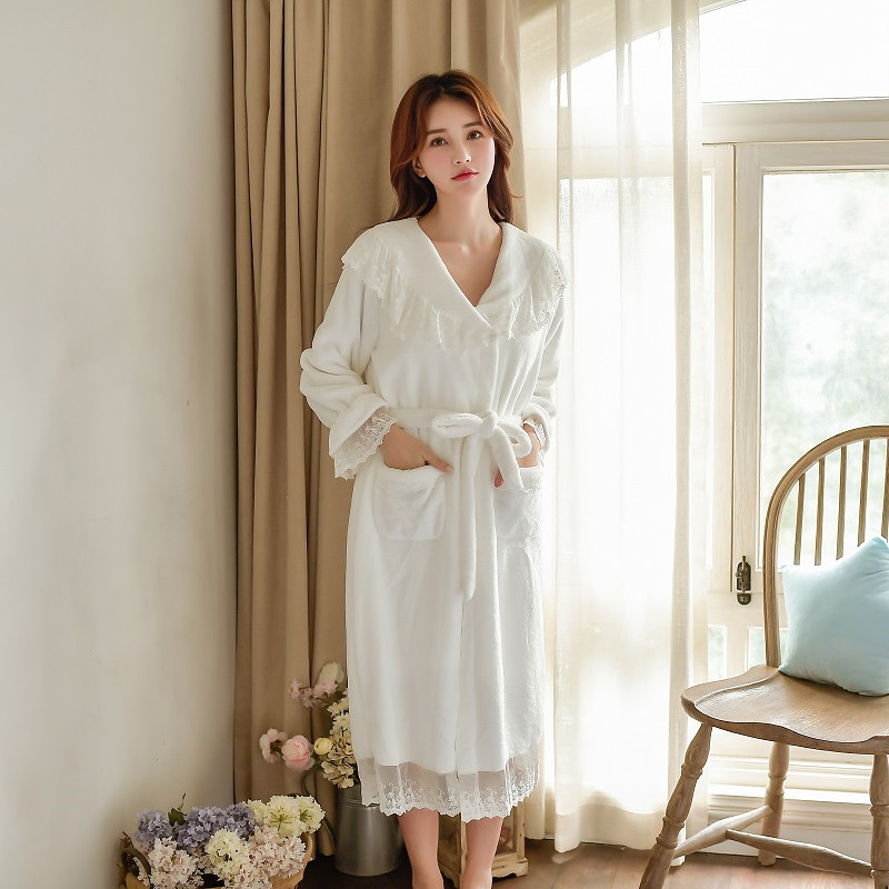 Winter Warm Thick Velvet 2 Pieces Women's Robe Sets Long Sleeve Bathrobe Female Loose Sleepwear Home Clothes 57