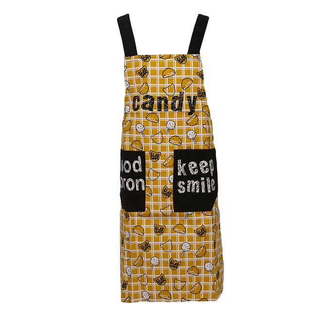 Kitchen Restaurant Bib Cooking Apron Cute Sleeveless Cooking Apron Simple Waterproof Oilproof Kitchen Adult Waist Gown Pocket