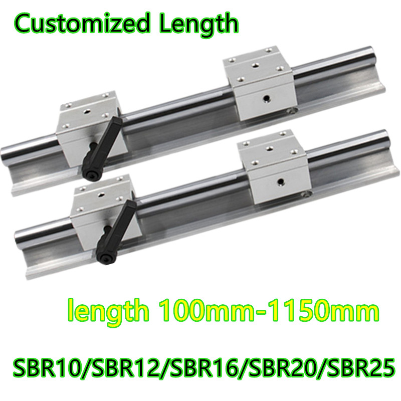 SBR25-1100mm 25MM LINEAR SLIDE GUIDE SHAFT ROD 2 RAIL+4SBR25UU BEARING BLOCK CNC