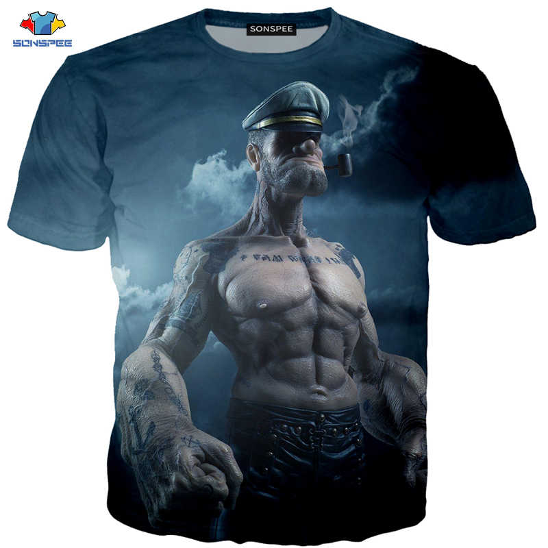 SONSPEE 3D Summer Fitness Men's T-Shirt Funny Anime Popeye T-Shirt Pipe Gangster Brother Shirt Cool Captain Smoking Kids T-Shirt