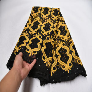 Черный/желтый кружевной ткани высокого качества Кружева нигерийские кружева ткани для женщин платье Африканский тюль кружева с камнями 5 я...