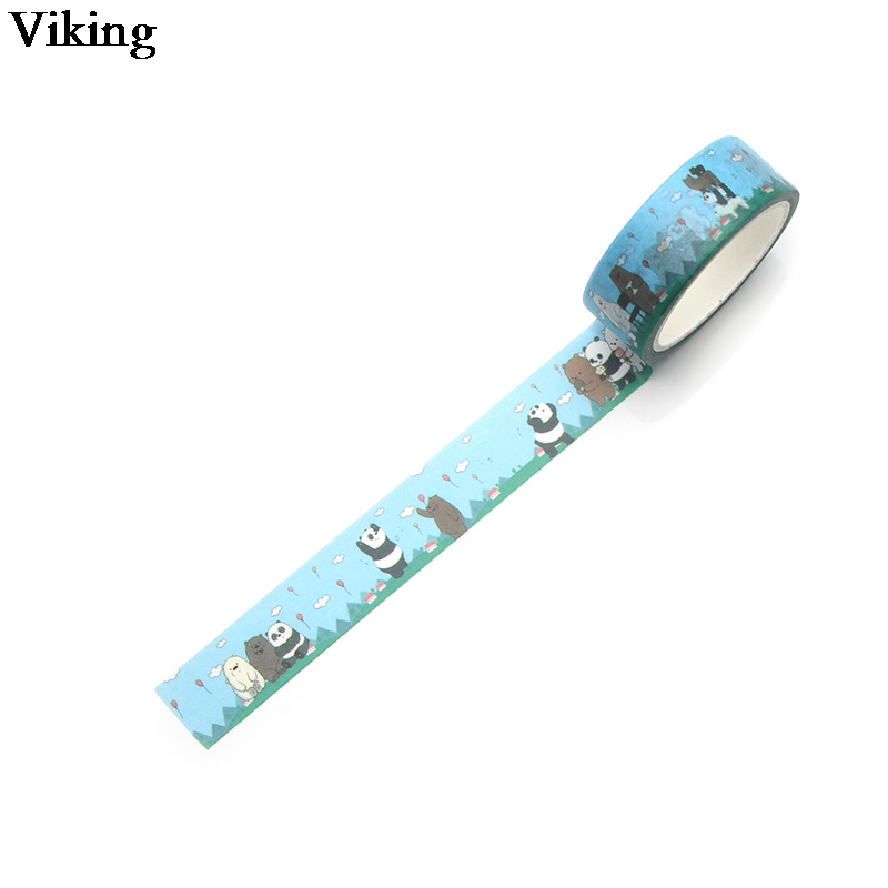 15mmX5m 1Pcs We Bare Bears Decorative Paper Funny Washi Tape Stationery Cute Scrapbooking Stickers G0135