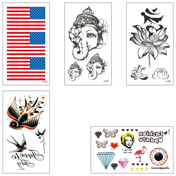 Waterproof Temporary Tattoo Water Transfer Stickers Banner Swallow Lotus Elephant God Man Woman Beautiful Cool Body Art X322-326 image