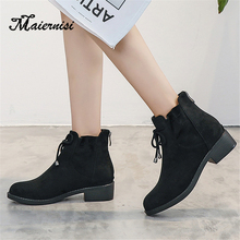 MAIERNISI Thick plush women shoes winter ankle boots ladies comfortable platform womens solid short