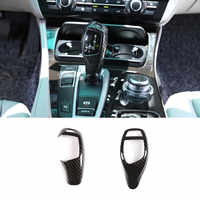 Carbon Fiber Style Gear Shift Handle Sleeve Button Cover Stickers For BMW F20 F30 f10 f32 F25 X5 F15 X6 F16 Interior Accessories