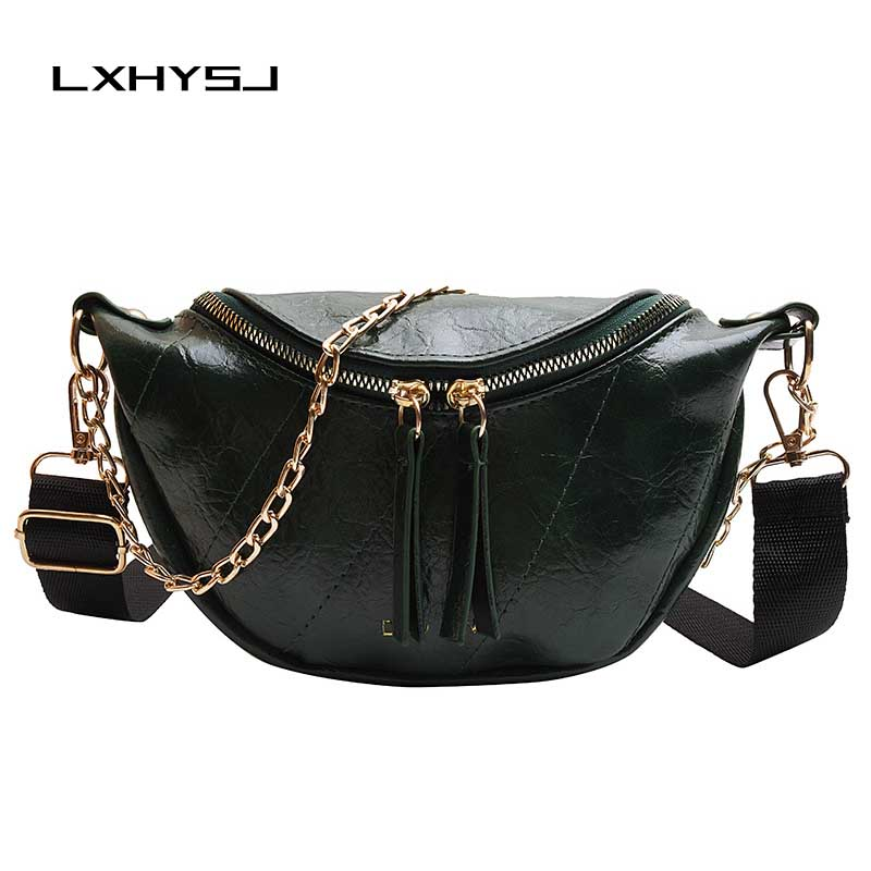 New Women Fanny Pack Chain Leather Fanny Pack Fashion Banana Bag Chest Bag Women Zipper High Capacity Kidney Bag Shoulder Bags