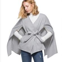velvet cloak woolen coat ladies jacket cardigan sanches V-Neck  Batwing Sleeve winter autumn wool poncho cape
