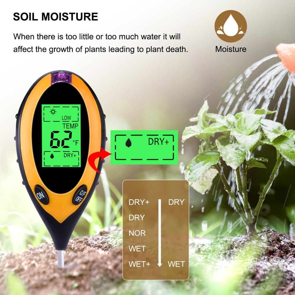 Image 3 - 4 in1 Plant Earth Soil PH Moisture Light Soil Meter Thermometer  Temperature Tester Sunlight Tester For Gardening Farminglight  standardtester perfumelight foundation make up