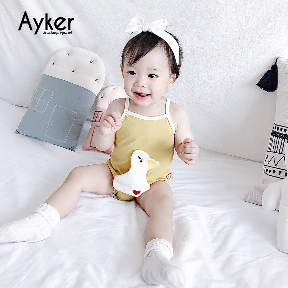 3 Pcs lot Newborn Bodysuit Body Baby Girl Boy Braces Sleeveless Bodysuits Tiny Cottons 2019 Cute Animal Lion Baby Girl Clothes in Bodysuits from Mother Kids