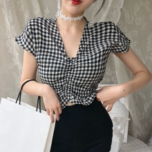 Women Short Sleeve Blouse Casual Tops Summer V Neck Plaid Shirts