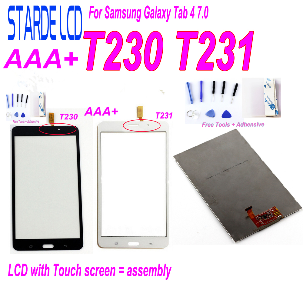 STARDE LCD For Samsung Galaxy Tab 4 7.0 Inch T230 SM-T230 T231 SM-T231 LCD Display Touch Screen Digitizer With Tools