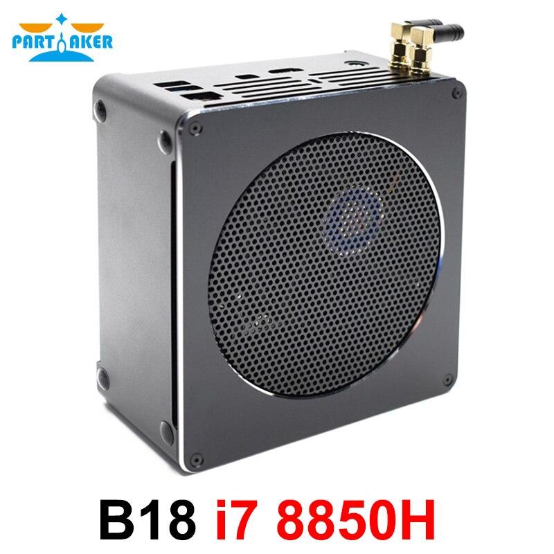 Partaker 8th Gen Intel Mini PC Computer Core I7 8850H 6 Core 12 Threads 32GB DDR4 2*M.2 SSD I7 UHD Graphics 630 Mini DP WiFi