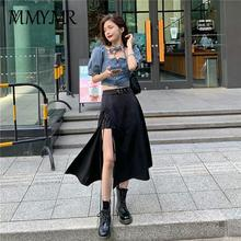Women Summer Gothic Black Skirt Korea Irregular Y2k Skirts+Crop Top Fashion Suits Sexy Streetwear Set Vestidos Casual  Zaraing