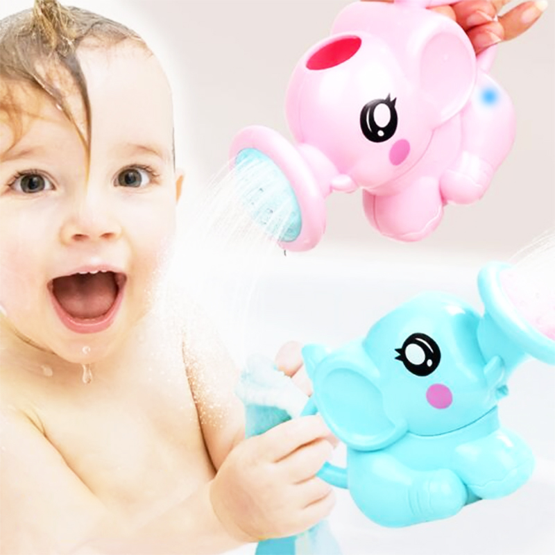 1pc Cartoon Kids Shower Bath Toys Elephant Baby Faucet Bathing Water Spraying Tool Plastic Watering Pot Bathtub Interactive Game