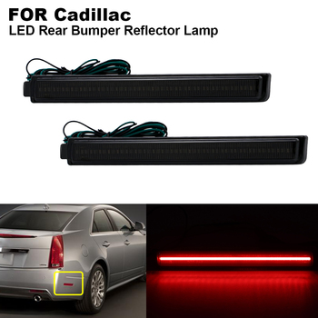 2 pieces Smoked lens Red Light Rear Bumper LED Reflector Brake light For Cadillac CTS CTS-V 2008 2009 2010 2011 2012 2013 image