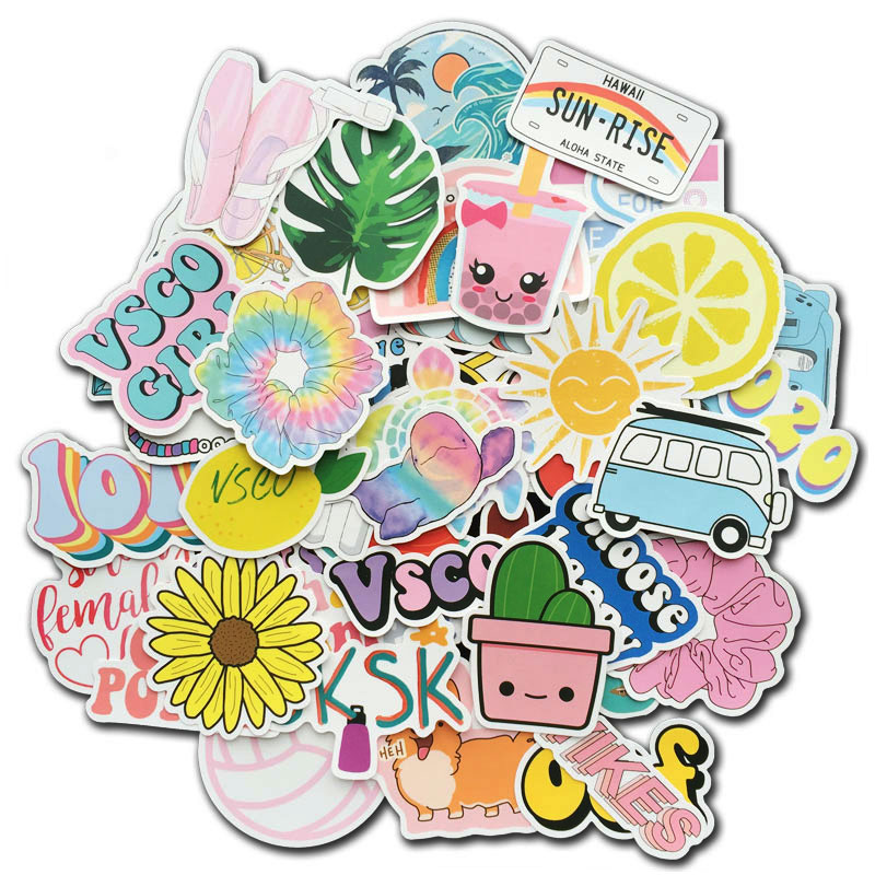 50Pcs Cute Vsco Aesthetic Stickers For Laptop Hydro Flask Water Bottle Phone Case Luggage Vinyl Decals For Kids Teen Visco Girls
