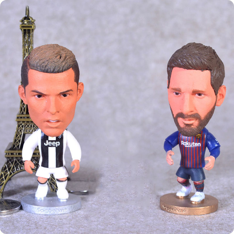 """Best Gift 1pcs Football star dolls Soccer Player Star Cristiano Ronaldo Lionel Messi 2.5"""" Action Dolls Figurine CR7 Toy"""
